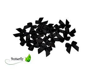 Satinschleifen 25mm, 20 Stück, Farbe:schwarz 030