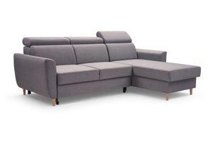 Dunkelgrau Ecksofa GUSTAW Schlaffunktion Sofa Modern Ecke Universelle Ottomane Polstersofa