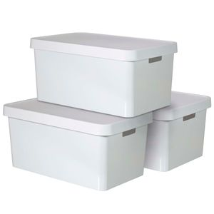 CURVER_3-er Set INFINITY Box mit Deckel 45L weiß_240683