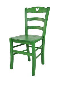 t m c s Tommychairs - Stuhl CUORE für Küche und Esszimmer, robuste Struktur aus Buchenholz, in Anilinfarbe Grün lackiert und Sitzfläche aus Holz