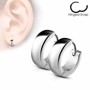 Damen und Herren Edelstahl Klapp-Creolen Ohrringe, Farbe:Silber
