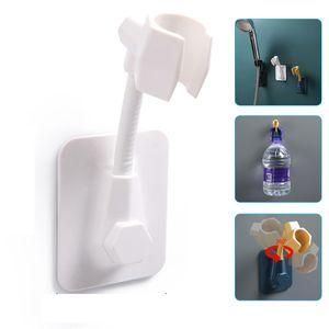 Duschkopfhalterung, Verstellbarer Brausehalter Ohne Bohren universelle Duschständer Duschhalterung Sprinklerbasis für Badezimmer(Weiß)