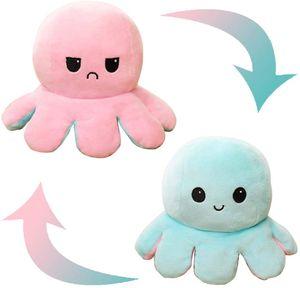 1Pack Reversible Octopus Plüsch Niedliche Octopus Stofftier Doppelseitige Flip Octopus Puppen für Kinder, Freunde und Familie (pink-hellblau)