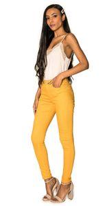 Damen Denim Jeans Hose Stretch Röhrenjeans Skinny Pants Push Up , Farben:Gelb, Größe:36