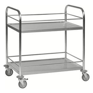 Kongamek Edelstahl- Tischwagen rostfrei mit 2 Böden 825x500mm mit Umrandung und Bremse