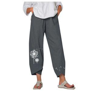 Damen Lady Casual Flowers bedrucken Hosen mit elastischem Gürtel und breiter Beinhose Größe:XXL,Farbe:Grau
