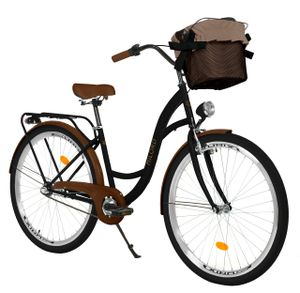 Milord Komfort Stadtfahrrad Fahrrad mit Korb Damenfahrrad, 28 Zoll, Schwarz-Braun, 3-Gang