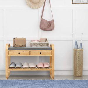 COSTWAY Schuhbank mit 2 Schubladen, 2 Ebenen Schuhregal mit Sitzkissen, Sitzbank aus Bambus, Schuhschrank, Polsterbank für den Eingangsbereich
