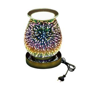 Elektrischer Wachs Schmelzwaermer Kerzenwaermer 3D Feuerwerk Glas Aromatherapie Lampe Touch Wachs Brenner Weihrauch Diffusor Aromazerstäuber