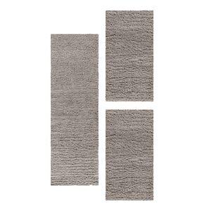 Teppich Läuferset Shaggy Teppich Set Hochflor Bettumrandung 3 Teile Beige, Farbe:Beige, Bettset:2 mal 60x110 + 1 mal 80x250