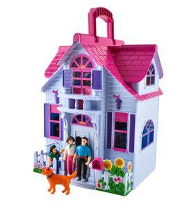 Puppenhaus Klappbar 6 Zimmer Möbel Figuren Familie mit Hund Spielzeug Tragbar  6079