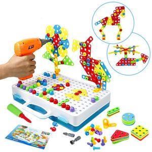 Steckspiel Montessori Spielzeug mit Bohrmaschine Pädagogisch Kreativ Spielzeug 3D Puzzle Mosaik Spiel Werkzeugkoffer Kinder ab 3 4 5 6 Jahre für Jungen Mädchen (237 Stücke)