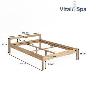 VitaliSpa Bettgestell Holzbett 140x200cm Lorenzo Doppelbett mit Kopfteil Bett Holz
