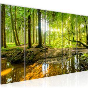 Wald Landschaft BILD 200x80 cm − FOTOGRAFIE AUF VLIES LEINWANDBILD XXL DEKORATION WANDBILDER MODERN KUNSTDRUCK MEHRTEILIG 611755a