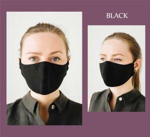 5x Waschbar Maske wiederverwendbar Atemschutzmaske Antibakterielle Baumwolle Mundschutz Maske 3-lagig Schwarz Erwachsene