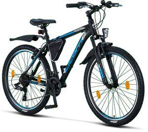 Licorne Bike Effect Premium Mountainbike - Fahrrad für Jungen, Mädchen, Herren und Damen - Shimano 21 Gang-Schaltung - Herrenrad, Farbe:Schwarz/Blau, Zoll:26