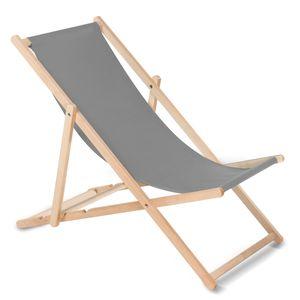 Liegestuhl aus Buchholz ohne Armlehne Sonnenliege Gartenliege 110kg GRAU