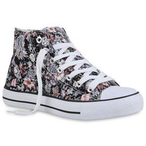 Mytrendshoe Damen Sneaker High Prints Schnürer Stoff Flache Blumen Schuhe 835098, Farbe: Schwarz Grau Weiß Muster, Größe: 38