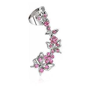 Ohrstecker Ohrklemme Ohrring Helix Cartilage Ear Cuff Schmetterling Blume Zirkonia silber-pink rechts
