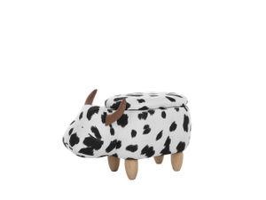 Tierhocker Schwarz Weiß Polyester Baumwolle Gummibaumholz 35 x 32 x 60 cm Modern Lederoptik Kuh Praktisch Deckel Kindermöbel Kinderzimmer