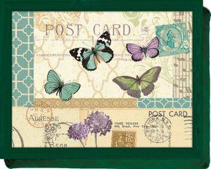 KitchenCraft Knietablett mit Kissen Postcard 44 x 33 Tablett Motiv Postkarte