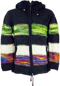 Patchwork Strickjacke Wolljacke Nepaljacke Gestreift - Modell 11, Damen, Schwarz, Wolle, Größe: S