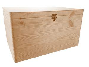 Aufbewahrungsbox/ Holzkiste ohne Grifflöcher Gr. 3  Kiefer unbeh. mit Verschluss