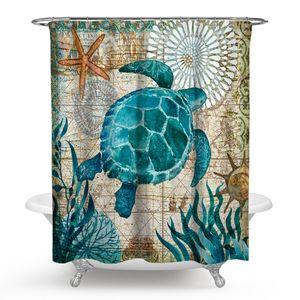 Badezimmer Duschvorhang,Meeresschildkröte Anti Schimmel Wasserdicht Periodensystem Vorhang mit 12 Duschvorhangringe(150x180cm)