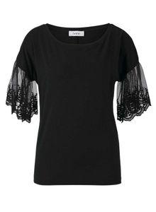 HEINE Damen Jerseyshirt mit Spitze, schwarz, Größe:36