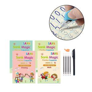 Magic Handwriting Copybook Wiederverwendetes Kalligraphie Schreibübungsbuch Set für Kinder 13x19cm Zeichnen der mathematischen Alphabetnummer Magic Practice Copybook
