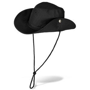 Outdoor Buschhut mit Druckknöpfen für Damen und Herren - Schwarz - 59