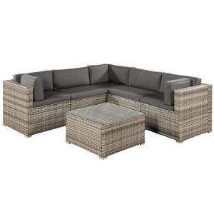 Juskys Polyrattan Lounge Nassau wetterfest – Gartenmöbel Set mit Ecksofa, Tisch & Auflagen - Gartenlounge für 5 Personen – Sitzgruppe Beige-Grau