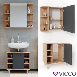 VICCO Badmöbel Set FYNN Eiche Anthrazit Spiegelschrank Waschtischunterschrank