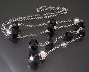 K674# Y-Kette silber Perlen facettiert schwarz Würfel Strass