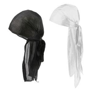 Damen Durag Headwear Wave Cap Haarausfall Schal Cap Muslim Bandana Turban Mütze Solide wie beschrieben Weiß + Schwarz