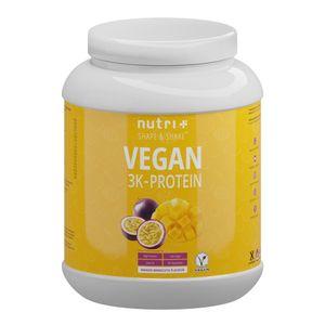 Protein Vegan 1kg - 84,1% pflanzliches Eiweiß - Nutri-Plus Shape & Shake 3k-Proteinpulver - Veganes Eiweißpulver ohne Laktose & Milcheiweiß - Mango-Maracuja