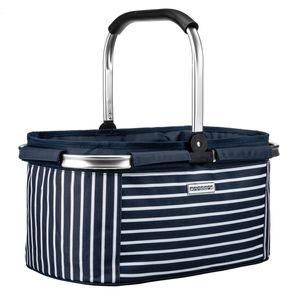 anndora Einkaufskorb -blau- weiß AHOI (22 Liter)  - Blau-Weiß