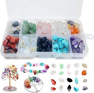 Edelsteine mit Loch,Naturform Perlen,Gemstone Chips Beads,Edelsteinperlen Naturform Perlen,Gemstone Beads,Stone Beads,Edelsteinperlen, 200g Steinperlen 10 Farben Edelsteine Beads 6-11mm