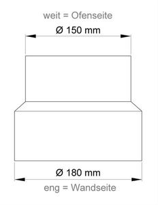 Ofenrohr Reduzierung 150 weit auf 180eng schwarz