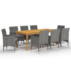 Gartenmöbel Essgruppe 8 Personen ,9-TLG. Terrassenmöbel Balkonset Sitzgruppe: Tisch mit 8 Stühle Grau❀7279