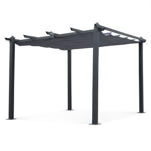 Aluminium-Pergola - Condate 3x3m - Grau Stoff - Laube ideal für Ihre Terrasse, verstellbares Dach, Stoff-Faltdach, Aluminiumgestell