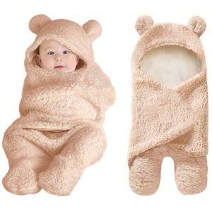Melario Babydecke Winter Fleece Kapuze Swaddle Schlafsack Wickeldecke Einschlagdecke Braun