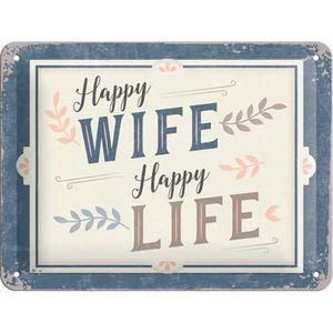 Nostalgic-Art - Blechschild Metallschild 15x20 cm - Happy Wife Happy Life