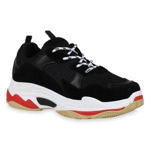 Mytrendshoe Damen Plateau Sneaker Profilsohle Freizeit Schuhe 823097, Farbe: Schwarz, Größe: 37