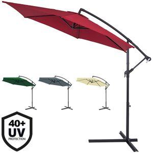 Sonnenschirm Ampelschirm Alu Ø300cm UV-Schutz 40+ Marktschirm Kurbelsonnenschirm wasserabweisend, Farbe:creme