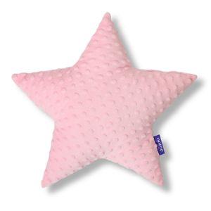JUKKI® DekoKissen für Kinderzimmer ★ STERN [Hell-Pink] 40cm Plüsch MINKY Kopfkissen für Kinder Kuschelkissen Plüschkissen