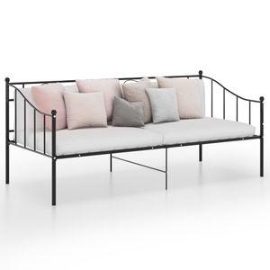 Schlafsofa Bettgestell Metallbett Einzelbett Bettrahmen | Jugendbett Bett skandinavisch Schwarz Metall 90x200 cm | 9110