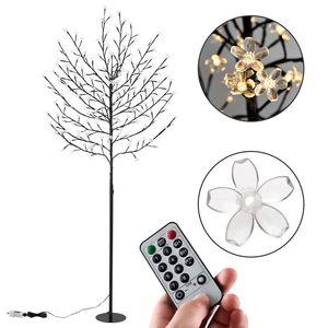 Juskys Kirschblüten Lichterbaum 200 cm mit Fernbedienung & Timer – 220 LED warm-weiß 8 Leuchtmodi Metallfuß - Innen & Außen Leuchtbaum Weihnachtsdeko