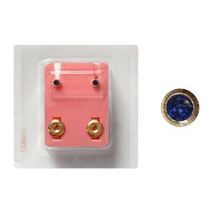 Erstohrstecker Chirurgenstahl vergoldet Sterile Ohrstecker Zarge mit Stein in blau 3mm