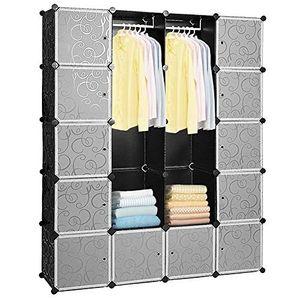 Wolketon 20 Wuerfel DIY Regalsystem Kleiderschrank Offen Kunststoff Garderobe mit Tueren Garderobenschrank Schwarz 180 * 142 * 37CM